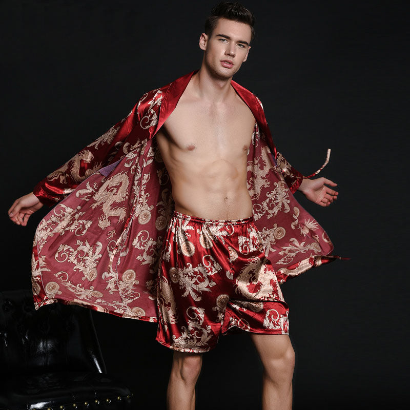 Men's nightgown simulation mild calf silk bathrobe