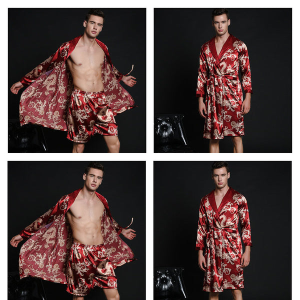Men's nightgown simulation mild calf silk bathrobe - Here2U