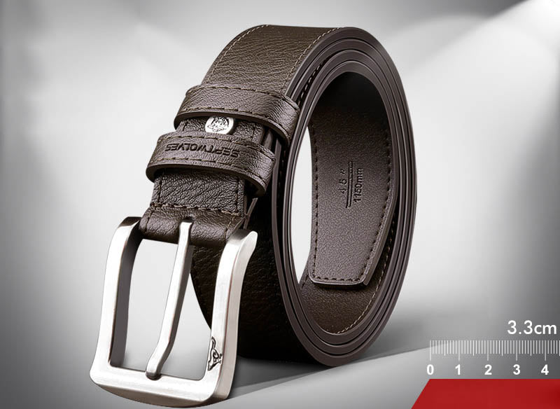 Men's  with pure authentic leather pin buckle belt