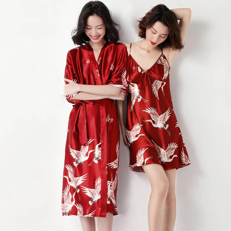 Women's ice silk sexy fairy crane Long suit nightgown