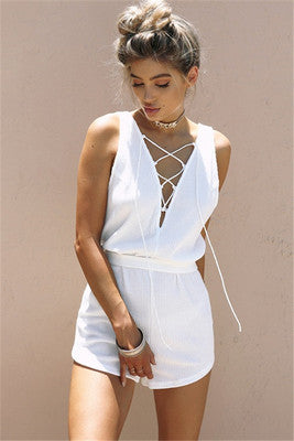 Women's V-neck strapless  jumpsuit