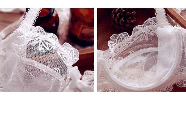 Women's net yarn ultra-thin transparent lace underwear bra set (section 1) - Here2U