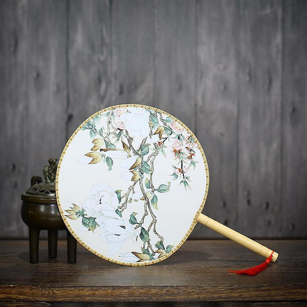 One-sided antique fan classical palace fan China wind round fan antique 20CM - Here2U