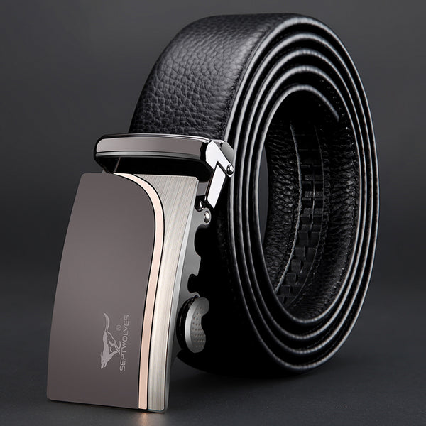 Wolf belt male leather youth automatic buckle head layer leather belt men's leisure business belts - Here2U