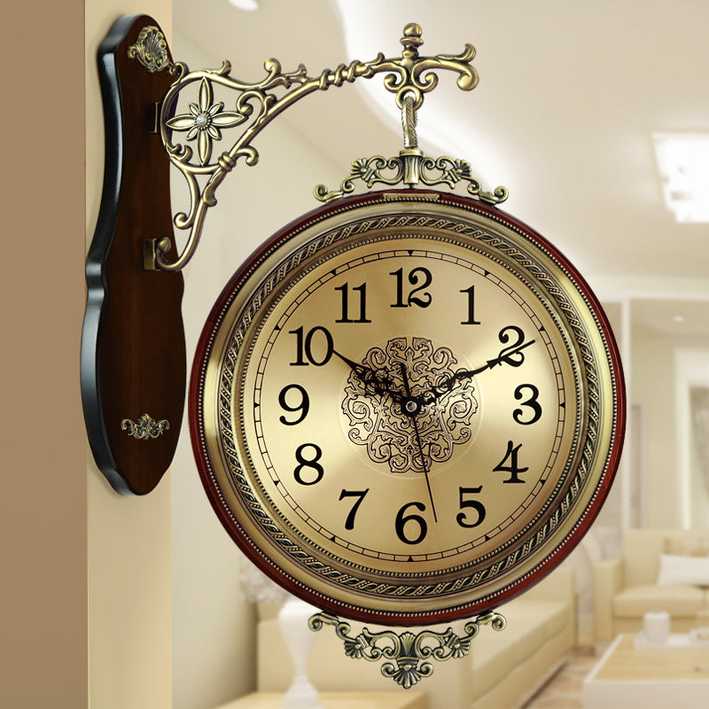 Solid wood metal double-sided hanging creative wall clock