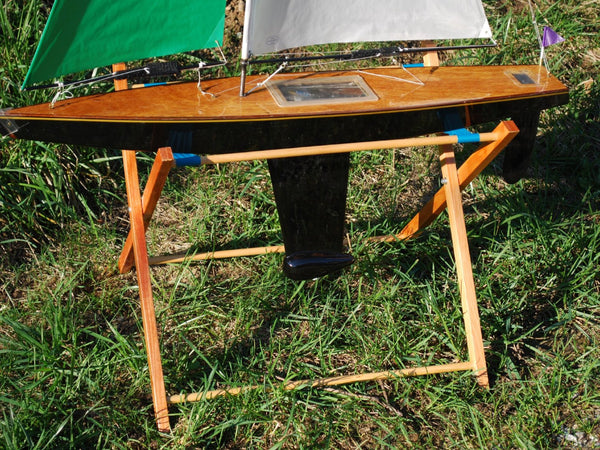 Wooden RC Sailboat Stand: T37 Remote Control Sailboat on a Tippecanoe Boats Lakeside Stand