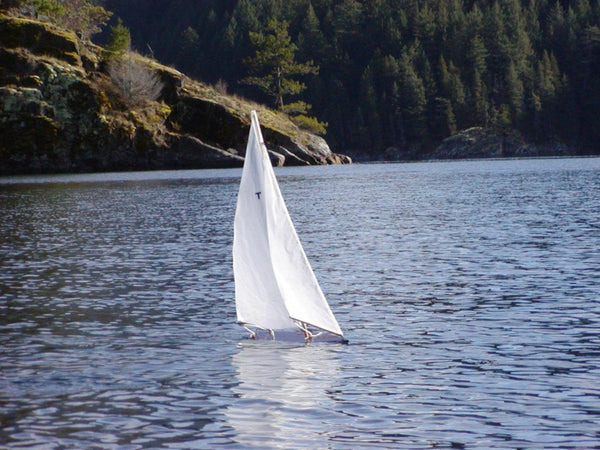 Wooden Toy Sailboat T18 Racing Sloop Sailing on the water