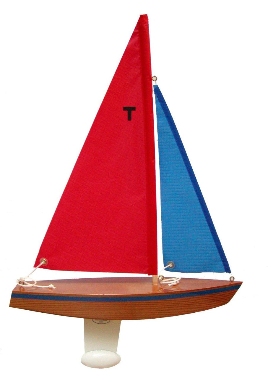 Wooden Toy Sailboat: T12 Cruiser with Red and blue sails