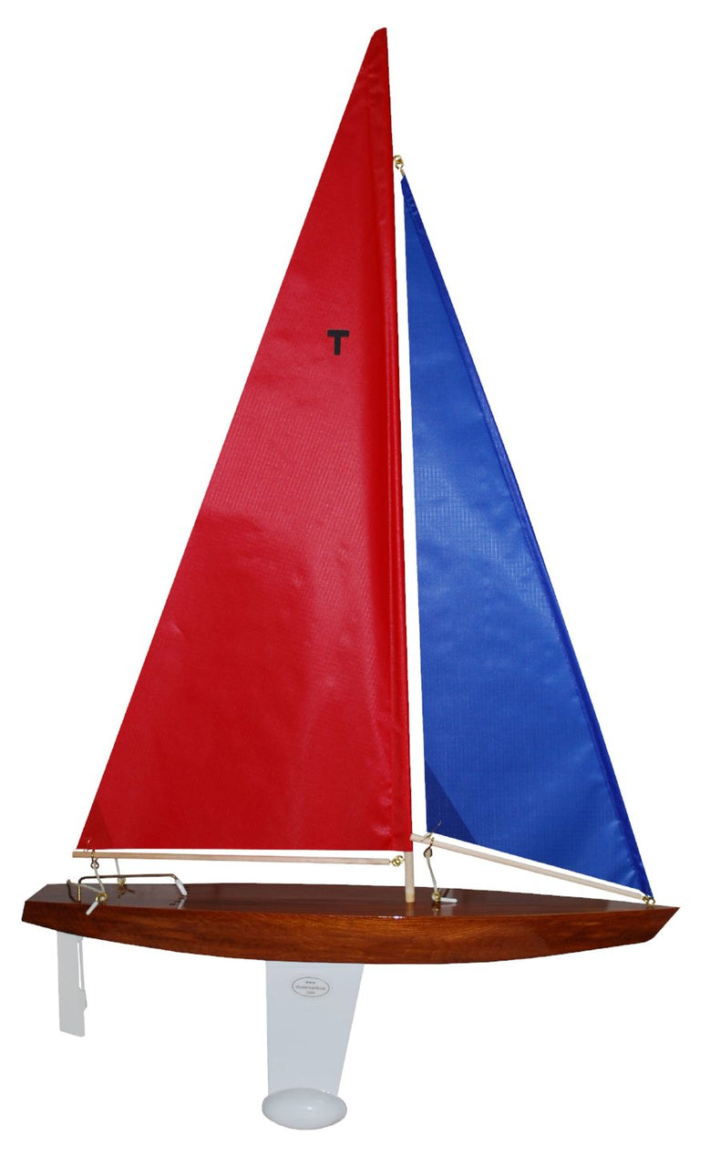 Wooden Toy Sailboat T18 Racing Sloop with Red and Blue Sails