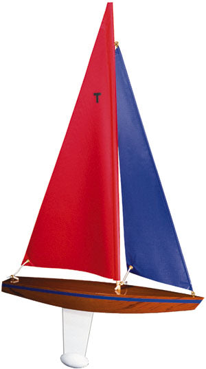 Wooden Toy Sailboat T15 Racing Sloop with Red and Blue Sails
