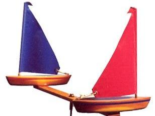 WindRacer Sailboat Garden Art with Red and Blue Sails