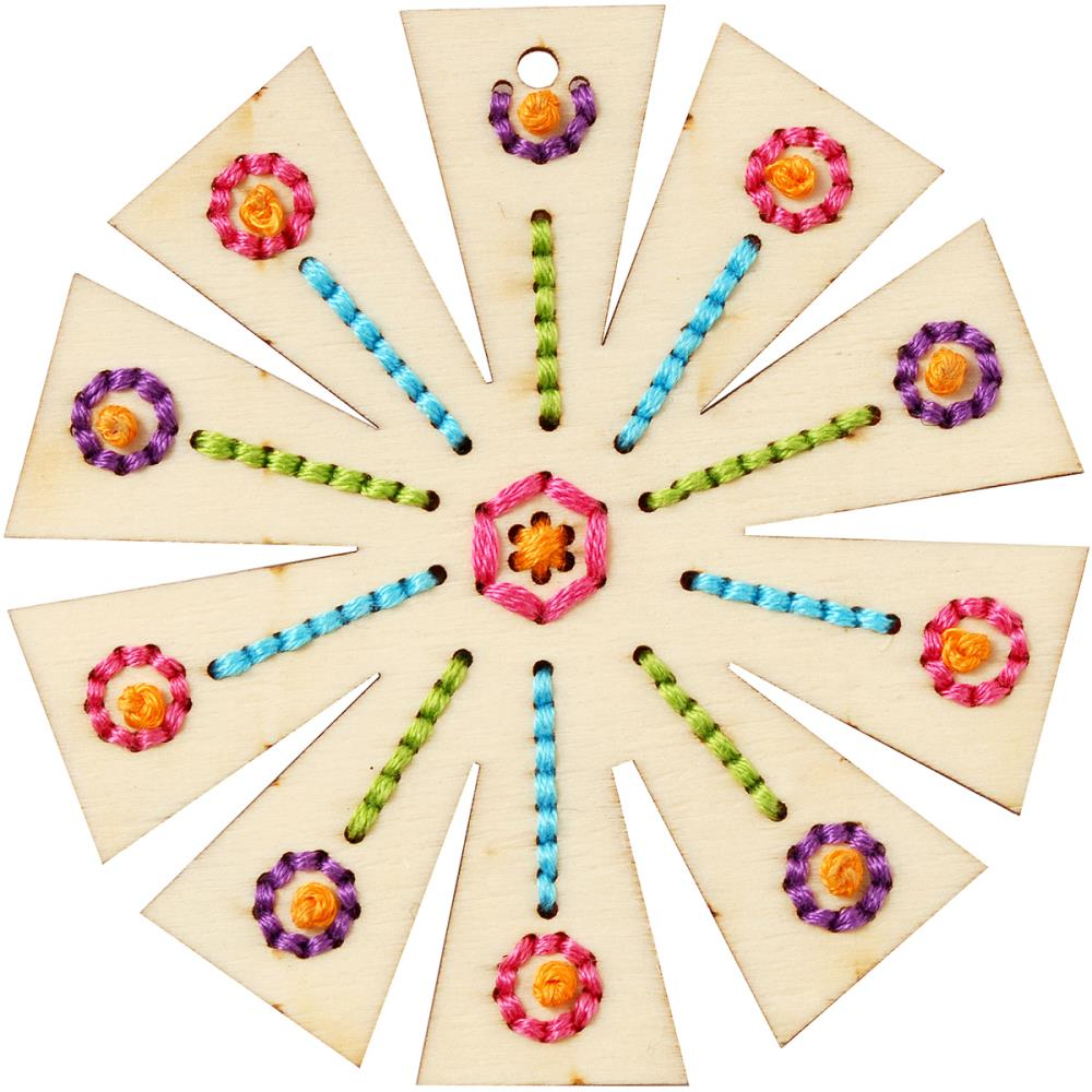 Wood Cross Stitch Kit - Flower