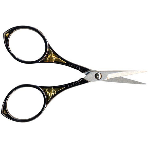 "Sullivan's Heirloom Embroidery Scissors 4"" - Gunmetal & Gold Round"