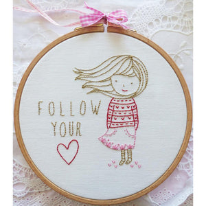 "Follow Your Heart 6"" Embroidery Kit"