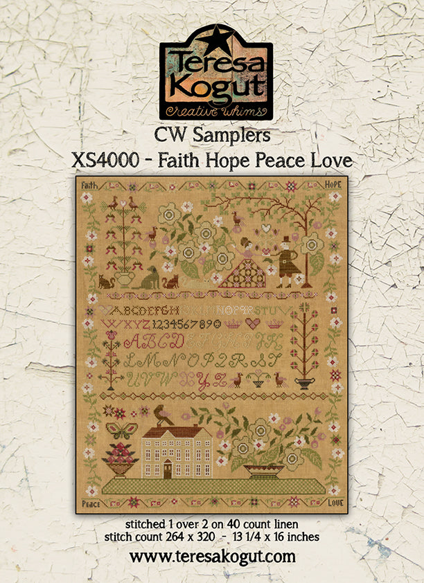 XS4000 Creative Whims - Faith Hope Peace Love - Cross Stitch Pattern