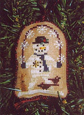 2005 Snowman Ornament - Jumping Flakes - Cross Stitch Pattern