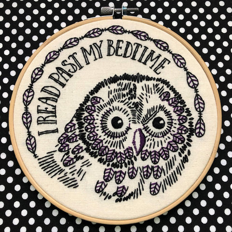 """I Read Past My Bedtime"" Owl Embroidery Kit"