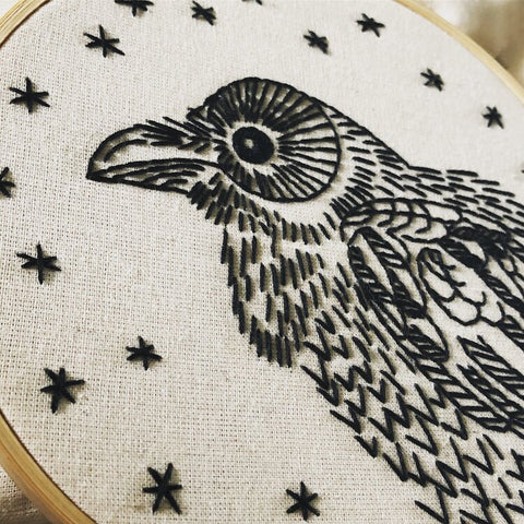 """Nevermore"" Crow Embroidery Kit"