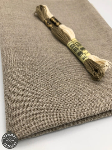 32 ct Belfast Linen - Natural Brown (variegated) - Cross Stitch Fabric
