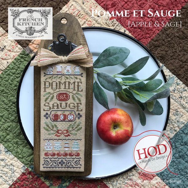 The French Kitchen - Pommes et Sauge (Apples & Sage) - Cross Stitch Pattern