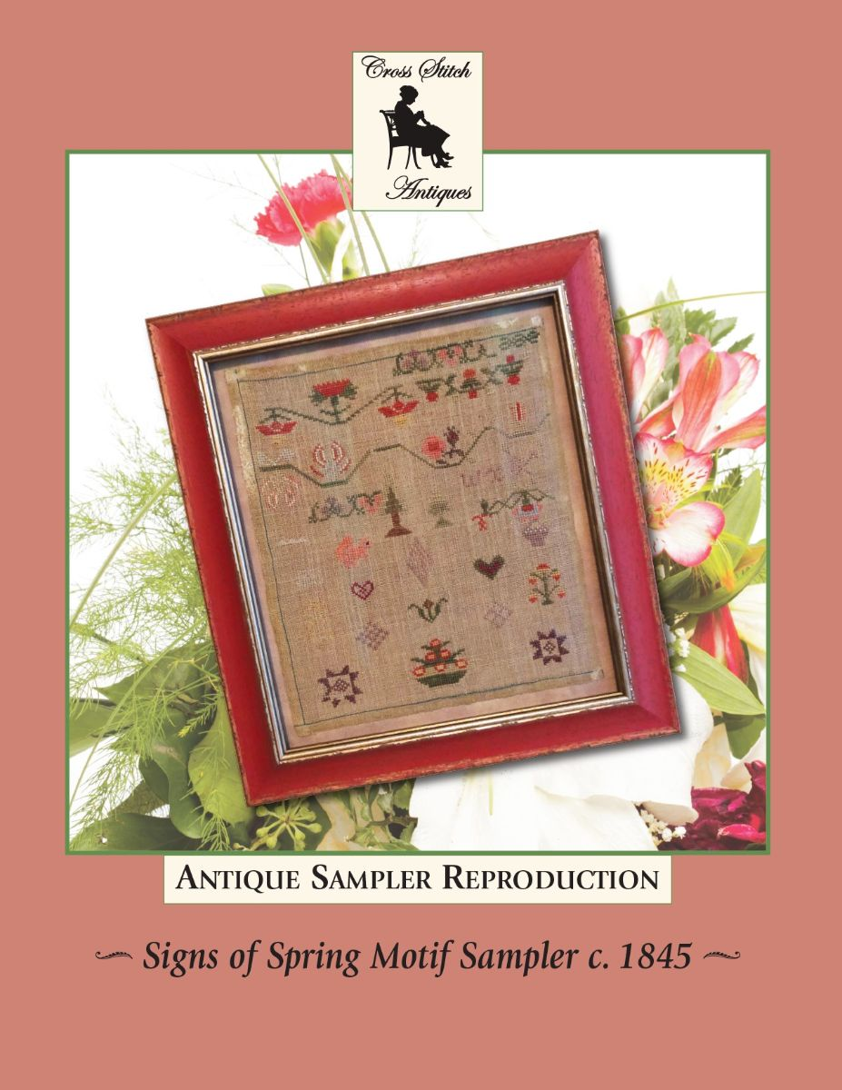 Signs of Spring Motif Sampler circa 1845, Antique Reproduction - Cross Stitch Pattern