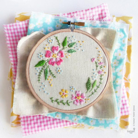 "Circle of Flowers 4"" Embroidery Kit"