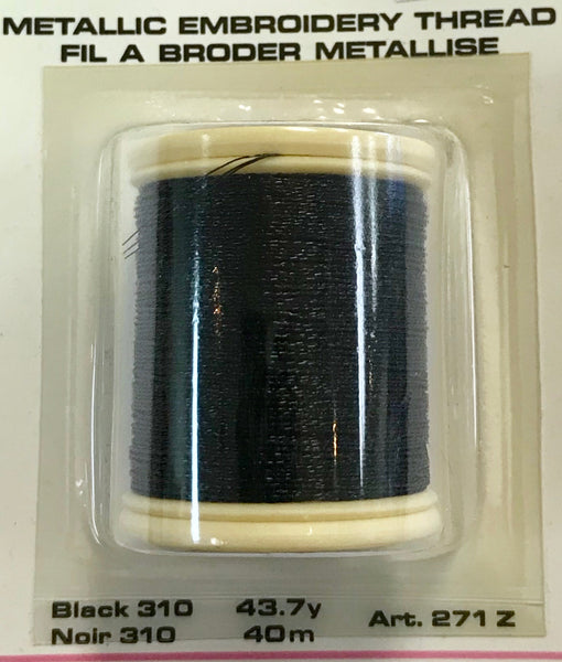Metallic Embroidery Thread 43.7yd - Black 310