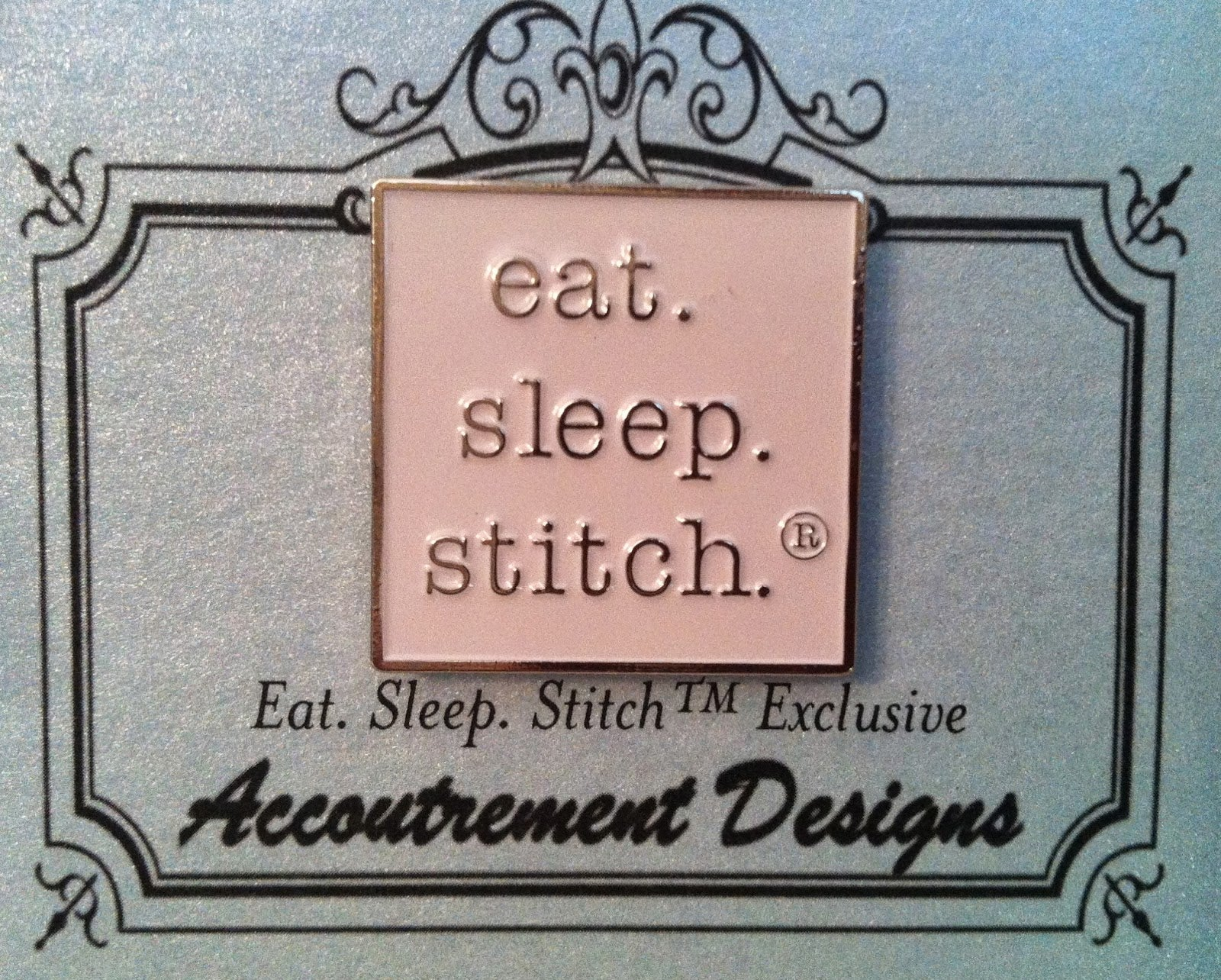 """Eat. Sleep. Stitch."" Needle Minder - White"