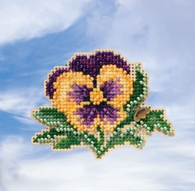 Tricolor Pansy Beaded Cross Stitch Kit
