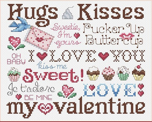 Hugs & Kisses for My Valentine - Cross Stitch Pattern