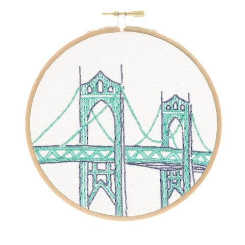 Portland's St. Johns Bridge Embroidery Kit