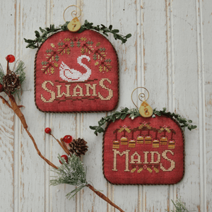 12 Days #5 - Swans & Maids - Cross Stitch Pattern