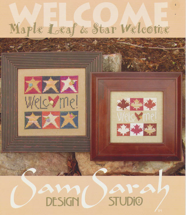 Welcome - Maple Leaf & Star Welcome - Cross Stitch Pattern