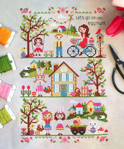 Let's Go on an Egg Hunt! - Cross Stitch Pattern