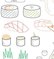 Sushi Bar Small Pack Embroidery Patterns
