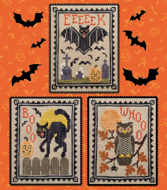 Halloween Critter Trio - Cross Stitch Pattern