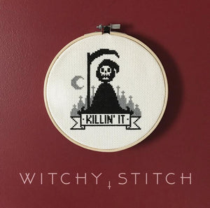 Grim Reaper Killin' It - Cross Stitch Pattern