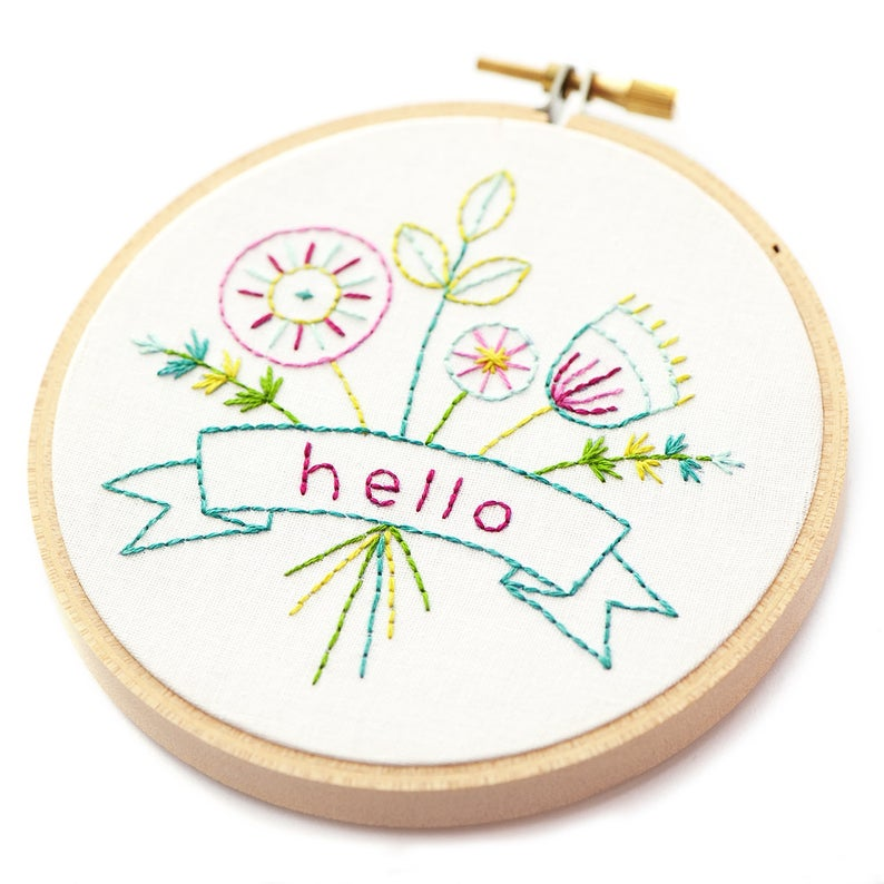 "Hello Bouquet 4"" Embroidery Kit"