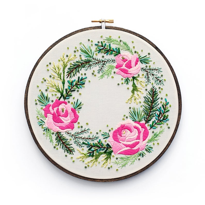 "Roses and Pine Wreath 8"" Embroidery Kit"