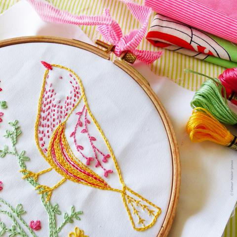 "Yellow Bird 6"" Embroidery Kit"