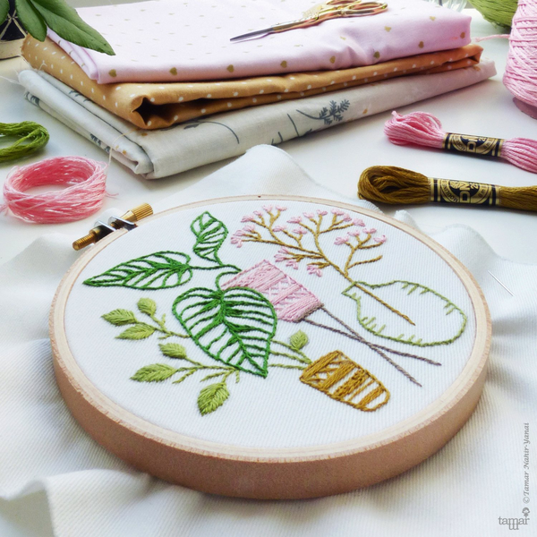 "Pink & Green Leaves 4"" Embroidery Kit"
