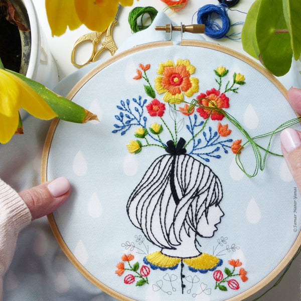 "Floral Lady 6"" Embroidery Kit"