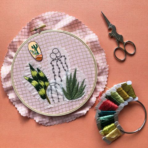 Detailed Cactus Designs - Peel, Stick, & Stitch Embroidery Pattern
