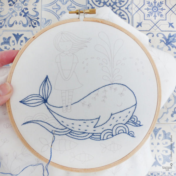 "Girl and a Whale 6"" Embroidery Kit"