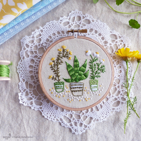 "Houseplants 4"" Embroidery Kit"