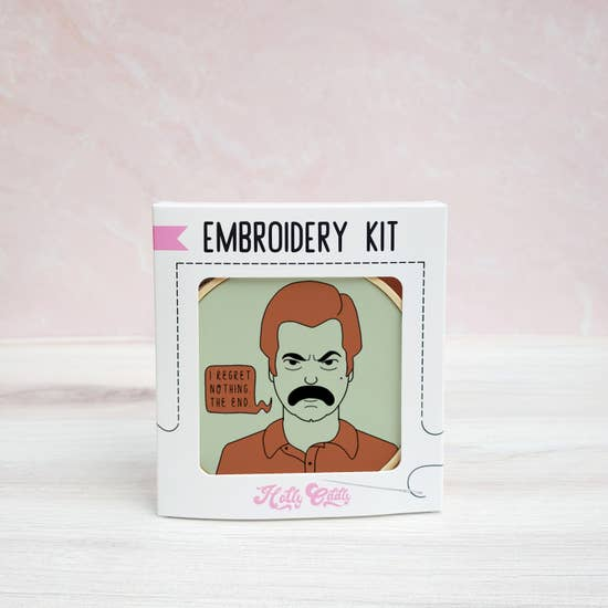 Ron Swanson Embroidery Kit - Holly Oddly