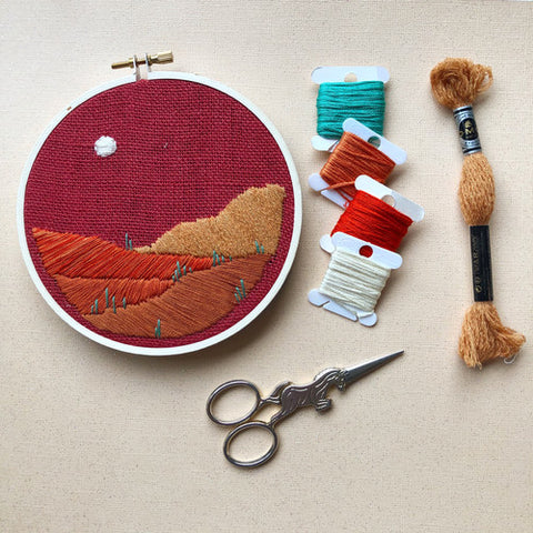 DIY Beginner Embroidery Desert Landscape Kit