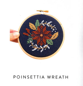 Poinsettia Wreath Cross Stitch Kit