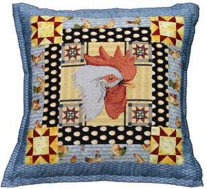 Quilt Block Rooster Pillow - Cross Stitch Pattern