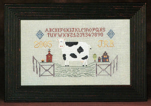 Fence Post Collection - White Cow - Cross Stitch Pattern